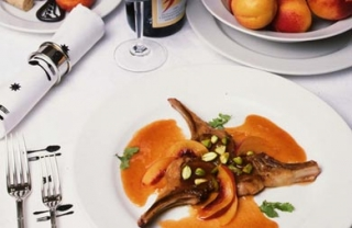 Lamb Cutlets with Pistachios and Nectarine